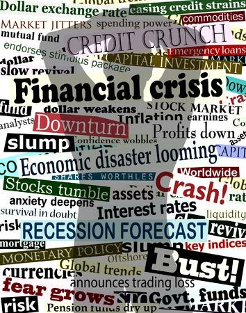 despair: Background editable vector design of economic headlines with mans shadow holding his head in despair
