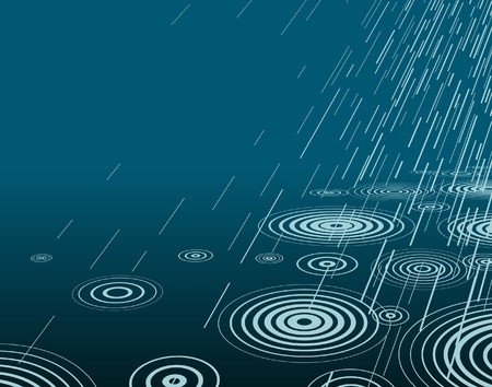 drench: Editable vector illustration of rain at night with copy-space