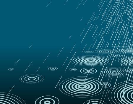 drench: Ilustraci�n vectorial editable de la lluvia por la noche con copia espacio Vectores