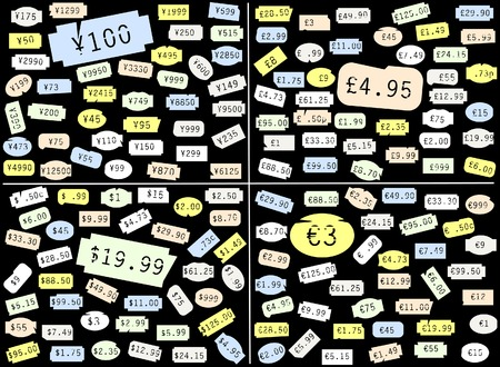 sterling: Set of basic price stickers in dollars, sterling, euros and yen