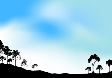 Silhouette of open woodland with hazy blue sky Stock Photo - 5707441