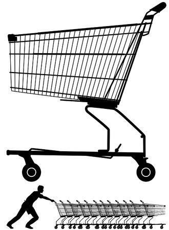 them: Illustrazione vettoriale modificabile di una silhouette carrello della spesa, maggiorato di un lavoratore spingendoli Vettoriali