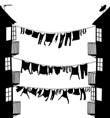 Editable vector silhouette of washing hanging between houses in an alley Stock Vector - 5798793