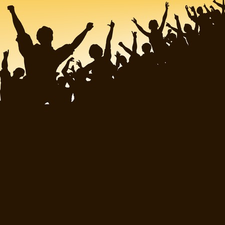 triumph: Editable vector silhouette looking up at a celebrating crowd