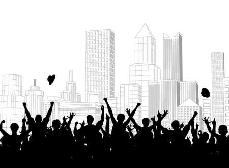 Editable vector silhouette of a crowd celebrating on a city street Vector