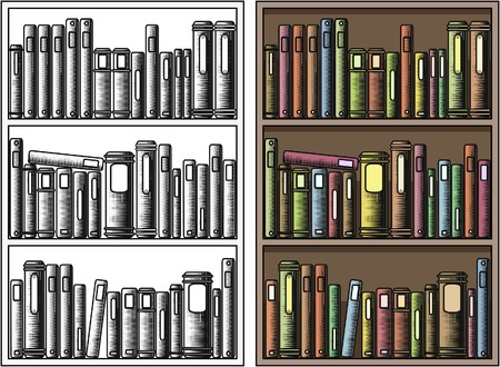 publications: Editable vector illustration of books in a bookcase with all books as separate objects Illustration