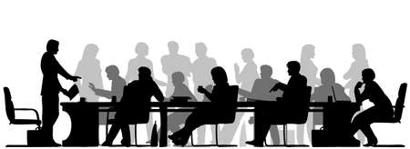 meeting: Editable vector foreground silhouette of people in a meeting with all figures and other elements as separate objects
