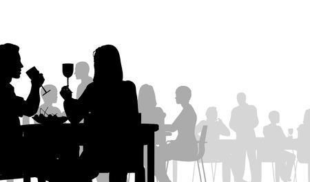 restaurant eating: Editable vector silhouette of people eating in a restaurant