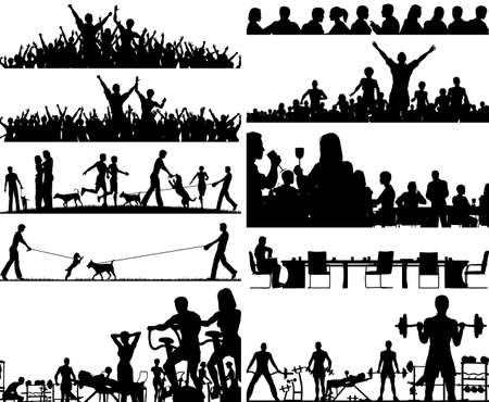 Set of editable vector people silhouettes as foregrounds Vector