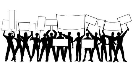dissent: Editable vector silhouettes of people holding placards or signs with all people and signs as separate objects Illustration