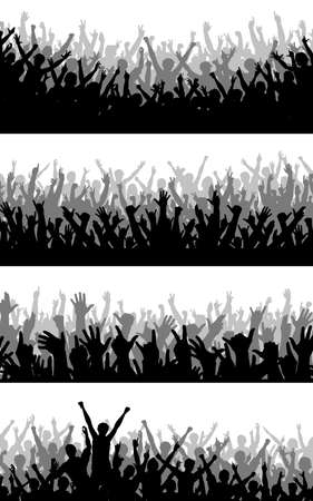 crowd happy people: Set of editable vector silhouettes of cheering crowds