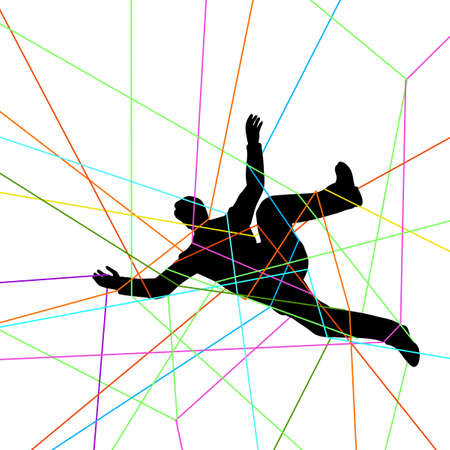 trapped: Editable vector illustration of a man entangled in colorful threads Illustration