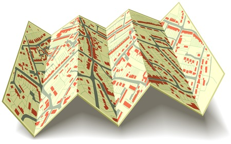 travel guide: Editable vector illustrated folding map of housing in a generic town without names Illustration
