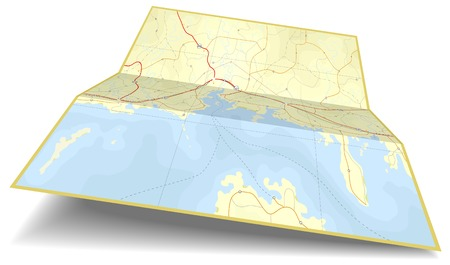 Generic editable vector illustration of a folding coastline map Vector