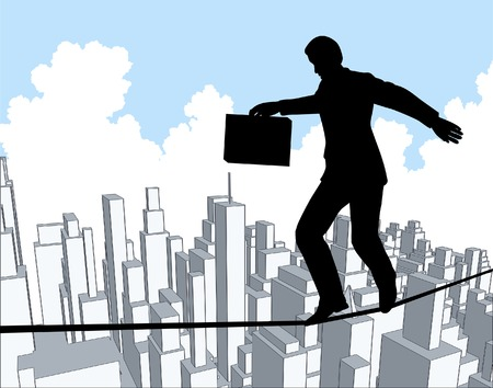Editable vector outline of a businessman walking a tightrope
