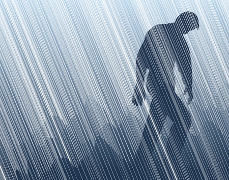 대기의: Editable vector illustration of a man walking in torrential rain 일러스트