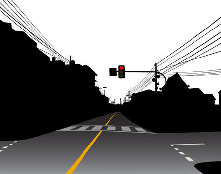deserted: Editable vector design of red traffic light over a dark and empty street