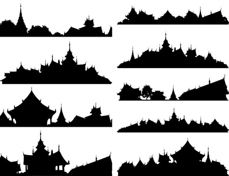 buddhist temple: Set of editable vector silhouettes of Buddhist temple complexes