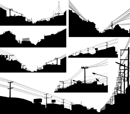 Set of detailed editable vector silhouettes of urban streets Illustration