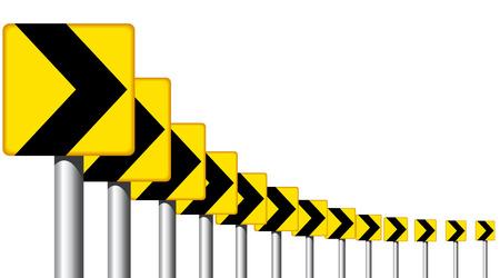 Editable design of roadsign arrows on a bend Stock Vector - 6163241