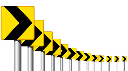 bend: Editable design of roadsign arrows on a bend