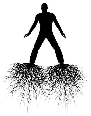 groviglio: Modificabile silhouette di un uomo con radici dai suoi piedi