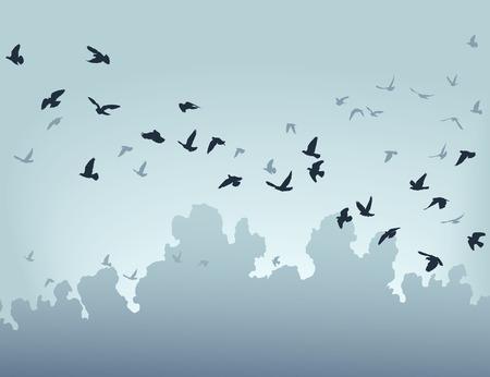 zwerm vogels: illustratie van een koppel van vogels vliegen