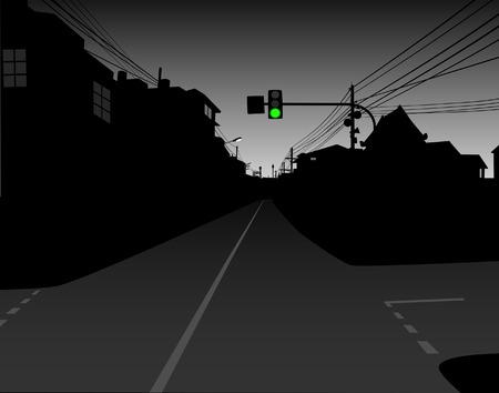 telegraph: Editable vector design of green traffic light over a dark and empty street