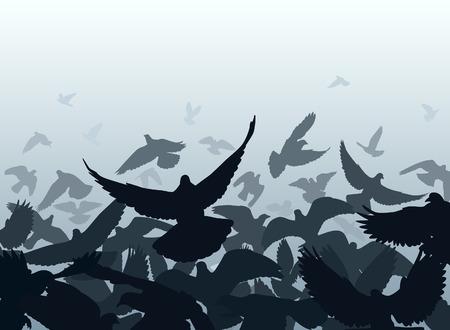 taking off: Dise�o vectorial de una bandada de palomas despegar con cada ave como un objeto independiente Vectores