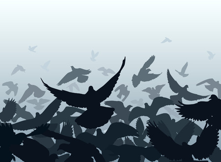 flapping: Vector design of a flock of pigeons taking off with each bird as a separate object