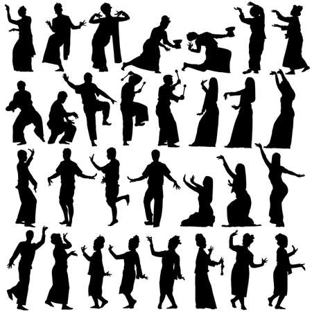 black people dancing: Set of editable vector silhouettes of traditional Thai dancers