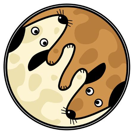 behaviours: Dise�o de yin y el yang de vector de dos perros de rastreo mutuamente