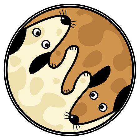 Vector yin and yang design of two dogs sniffing each other Vector