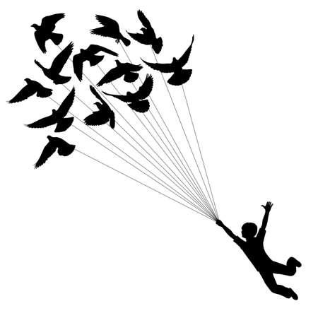 zwerm vogels: silhouet van een jongen die vliegen duiven