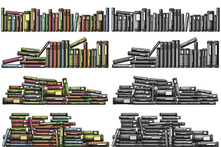 foreground: Editable vector illustrations of rows and piles of books as foreground design elements