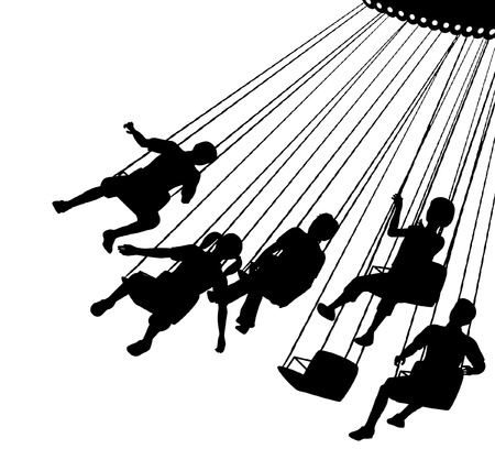 thrill: Editable vector silhouette of children on a fairground ride with each child as a separate object.