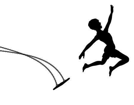 for boys: Editable vector silhouette of a young boy leaping off a swing Illustration