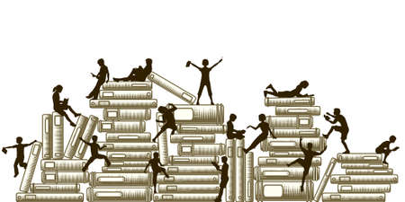 literature: Editable vector illustration of children reading and clambering over piles of books