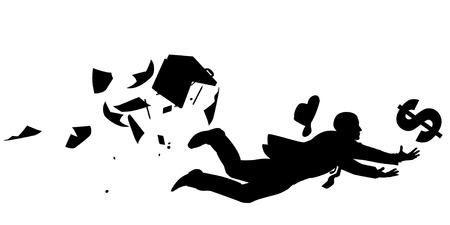 ditch: Vector silhouette of a businessman desperately trying to catch a falling dollar