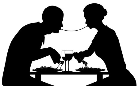 intimate: Editable vector silhouette of lovers eating spaghetti together with all elements as separate objects