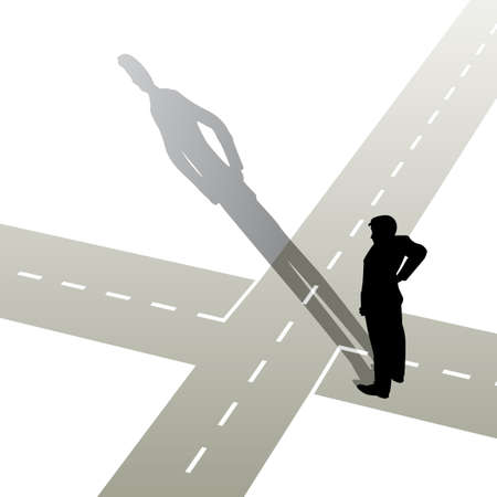 decisions: illustration of a man standing at a crossroads Illustration