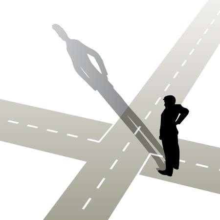 cruce de caminos: Ilustraci�n de un hombre en una encrucijada  Vectores