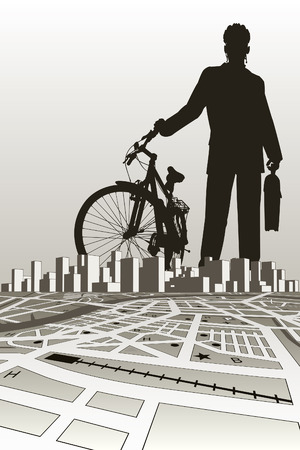 illustration of a businessman and bike silhouette over a city Stock Vector - 6538924