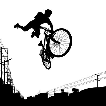 showoff: illustration of a boy jumping with his bike Illustration