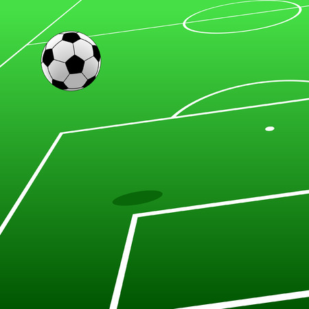 Editable  illustration of a football and pitch Illustration