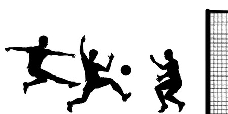 striker: Editable  silhouette of action in a football match Illustration