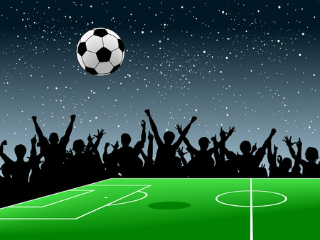 soccer stadium crowd: Editable  design of a crowd around a football pitch at night