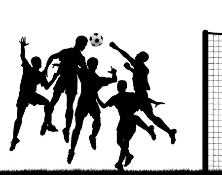 Editable  silhouette of a footballer heading the ball at goal with all players as separate objects Vector