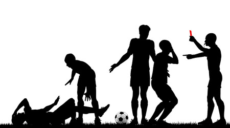 hurt: Editable silhouette of a referee sending off a footballer with all elements as separate objects Illustration