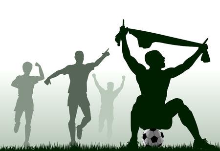 jubilant: Editable silhouette of a soccer player celebrating a goal plus team-mates
